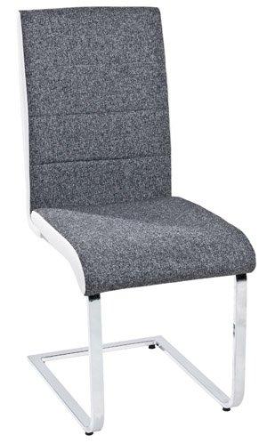 Stühle weiß grau  4er-Set Stühle Freischwinger Esszimmerstühle 513013 Webstoff+ ...