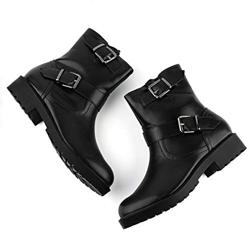 Allegra K Women's Buckle Strap Mid Calf Motorcycle Combat Black Boots - 10 M US ()