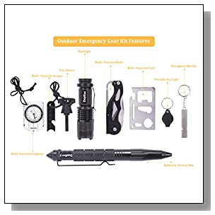 DayExx Ultimate Wilderness Outdoor Emergency Survival Kit (10 piece set) Outdoor, Tactical Emergency Equipment. Survivalists, Preppers, Hiking, Camping, incl. Knife, Flashlight, Fire Stater and more