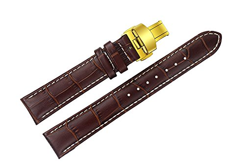 (22mm Brown Luxury Replacement Leather Watch Straps/Bands Handmade with White Stitching for Swiss Top-Grade Brands with Gold Tone Deployment Buckle Double-Push Button )