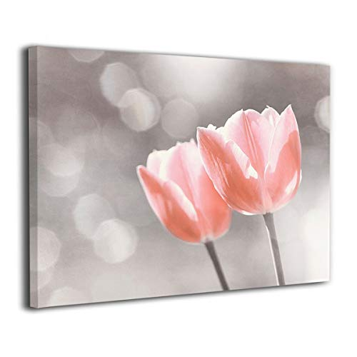 BLI Light Peach Silver Flower Art, Coral Floral Painted Canvas Picture Prints for Home Decorations for Living Room Bedroom Abstract Artwork (Coral Home Accents)