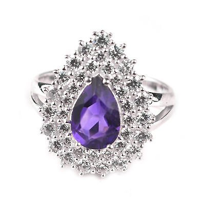 CZ 925 SOLID Sterling Silver Gemstone Ring Size 6 Jewelry 3.45Gms. Amethyst