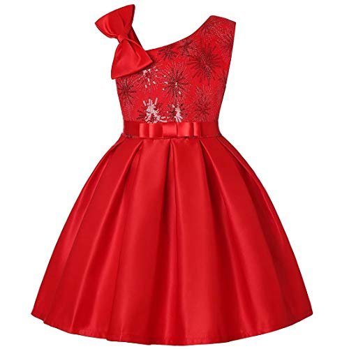 Girls FLOWES Dresses Wedding Party Prom Special Occasion (Red,100) -