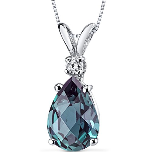 14 Karat White Gold Pear Shape 2.50 Carats Created Alexandrite Diamond Pendant