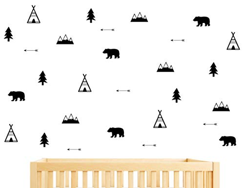 Woodland Wall Decal, Bears, Arrow, Teepees, Trees and Mountains Decor, Matte Vinyl Wall Stickers for Baby Bedroom, Nursery Wall Decals(Y05) (Black)