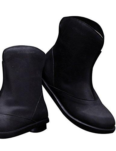 Zoulee Dames Herfst Winter Leer Plat Korte Laarzen Warme Laarzen Zwart
