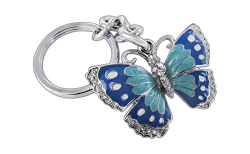 - Baron-Jewelry Beautifully Detailed 3D Butterfly Key Chain Surrounded by Clear Crystals. Chrome Coated Metal for a Long Lasting Shine with Bright Color Glossy Enamel. (Green and Blue)