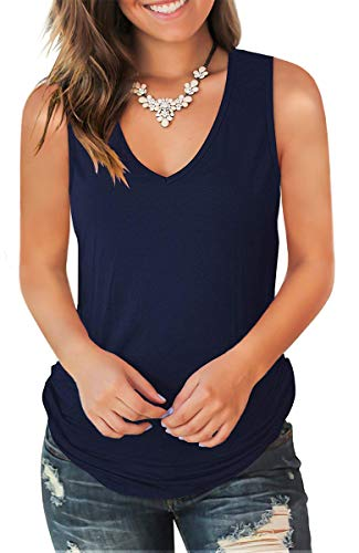 Jescakoo Summer V Neck Tank Tops for Women Dressy Shirts Sleeveless Navy Blue L