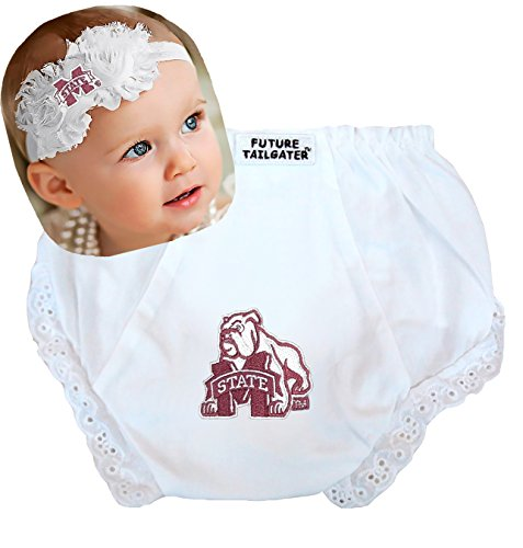 Mississippi State Bulldogs Baby Diaper Cover and Shabby Bow Headband (Newborn - 6 months/ 13