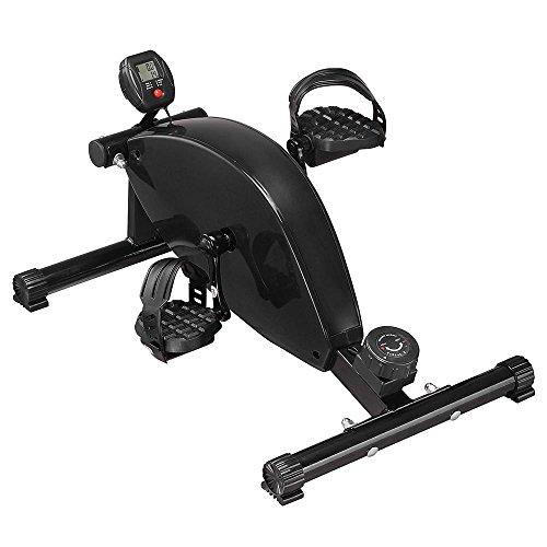 AW Mini Magnetic Pedal Exerciser under Desk Exercise Bike Leg Hand Workout Fitness Office Black