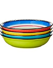 """Certified International Tequila Sunrise Soup/Pasta Bowl, 9.25"""", Assorted Designs, Set of 4, Multicolored"""