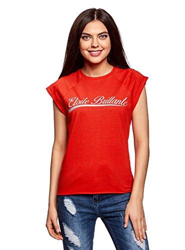 4591p onderste Women Ultra opschrift T rand Oodji en etiket zonder katoen shirt rood onbewerkt met w6UaZqxpA