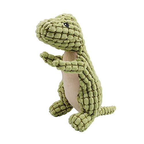 AriTan Plush Corduroy Durable Squeaky Dog Toys, Dinosaur Funny Plush Toys, Non-Toxic Puppy Bite Play Chew Pet Toys, Green -