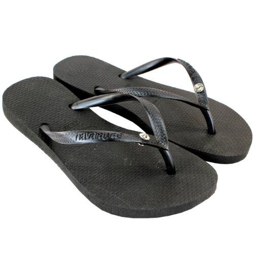 Womens Havaianas Glamour Diamante Flip Flop Summer Sandals Black 4kSLLBw