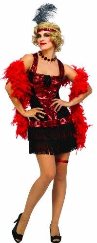 Rubie's Deluxe Adult Speakeasy Flapper Costume, Black/Red,
