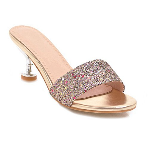GIY Women's Glitter Open Toe Dress Slip On Slide Sandals Stiletto Kitten Heels Shoes Gold ()