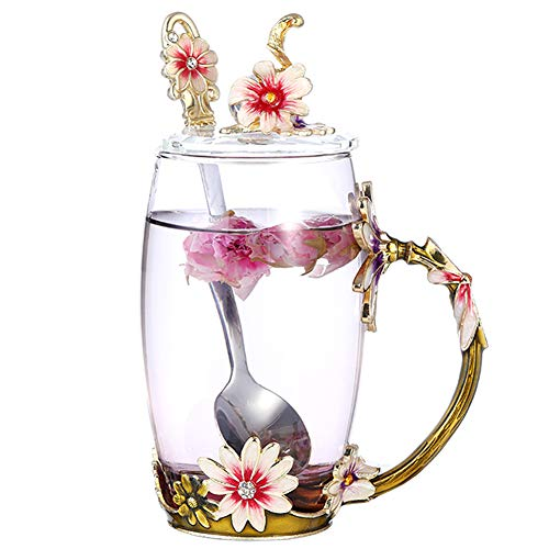 Tea Cups Coffee Mug with Lid Spoon for Women Girls, Handmade Design Sturdy Durable Clear Glass Tea Cups Unique Gift Idea for Mom Wife Sister Daughter Friend (Daisy Tall)