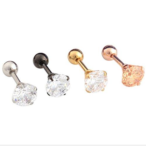 Surker 4pcs CZ Diamond Titanium Steel Hypoallergenic Ear Studs Earrings Piercing Jewelry(3mm)