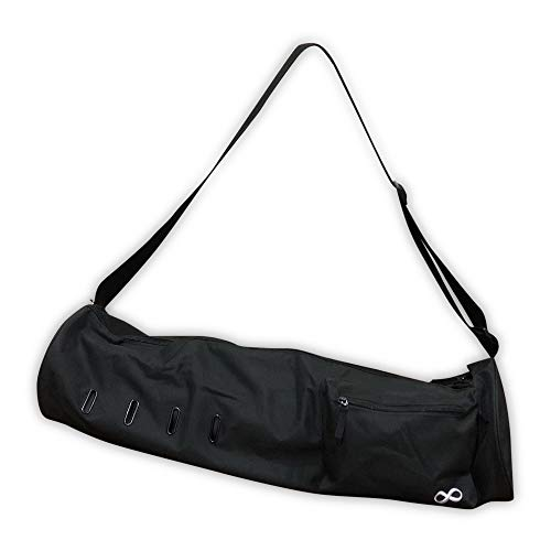 "YogaAddict Yoga Mat Bag 'Compact' with Pocket, 28"" Long, Fit Most Mat Size, Extra Wide, Easy Access - Black (2 Zippers)"