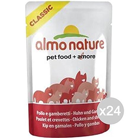 Almo nature Juego 24 Gato lungarno Sobres 55 Classic Pollo Gamber Comida para Gatos: Amazon.es: Productos para mascotas
