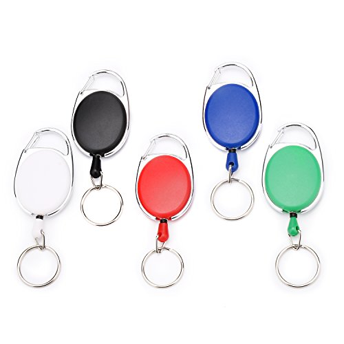 Fushing 5 Colors Retractable Badge Holder Carabiner Reels Key Holders Chains with Metal Split Ring