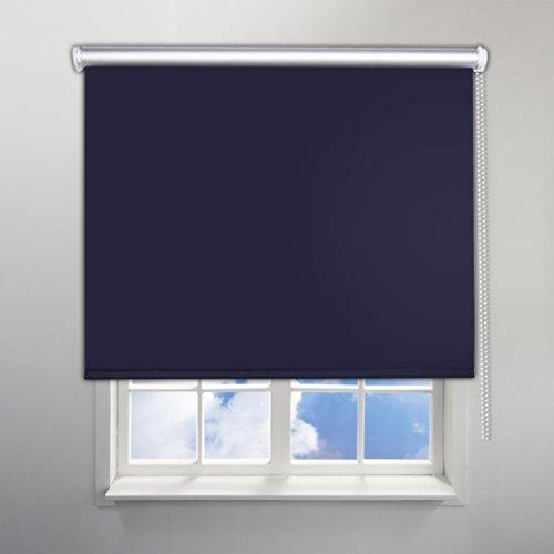 SHINY HOME® Klasischdesign Blickdicht Abdunkeln Verdunkelungsrollo Rollo mit Klemmträgern Lichtundurchlässig für Fenster Tür ohne Bohren 80x230cm (B x H) Dunkelblau