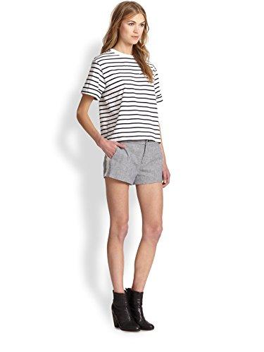 rag & bone Nesi Striped Cotton & Linen-Blend Shorts (10, Navy)