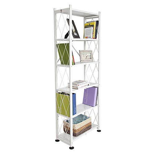Origami RB-03 Foldable 6 Tier Bookshelf 6 Shelf Book Case, Perforated Shelving, White