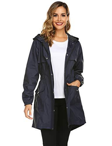 Avoogue Trench Coats for Women, Lightweight Hooded Waterproof Outdoor Zipper Rain Jacket Navy Blue (Best Outdoor Coats For Women)