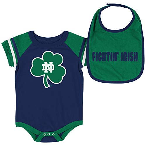 Colosseum NCAA Baby Short Sleeve Bodysuit and Bib 2-Pack-Newborn and Infant Sizes-Notre Dame Fighting Irish-3-6 Months