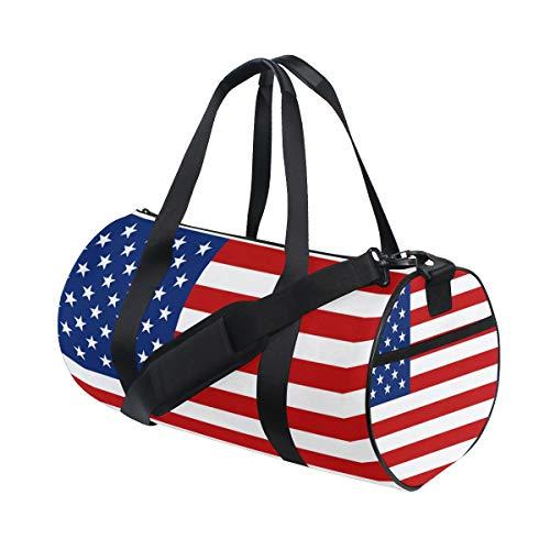 Barrel Duffel Bag American Flag Stars Red White Stripe Sports Gym Travel Bag