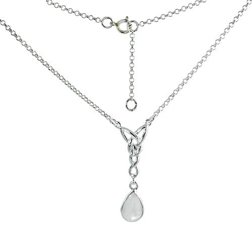 Sterling Silver Necklace Natural Moonstone