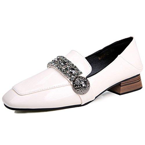 FEIFEI Zapatos de mujer PU + antideslizante suela resistente al desgaste Summer Low-heeled Vintage The New Peas Shoes dos colores para elegir ( Color : 02 , Tamaño : EU36/UK3.5/CN35 ) 01