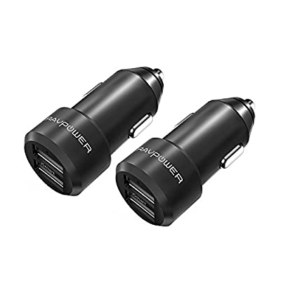 Car Chargers [2 Packs] RAVPower 24W 4.8A Metal Dual USB Car Adapter with iSmart 2.0 Charging Tech for iPhone 8 / X / 7 / 6s / 6 / Plus, Galaxy S7 / S6 / Edge / Plus, Note 5 / 4 and More