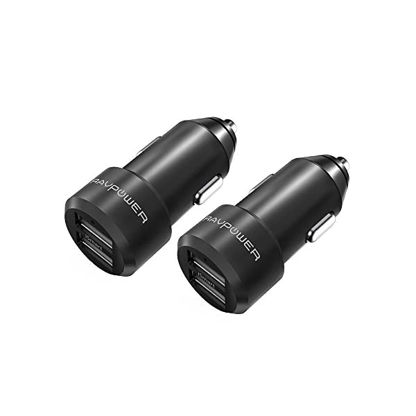 USB Car Charger 2 Pack RAVPower 24W 4.8A Metal Dual Car Adapter, Compatible IPhone Xs XS Max XR X 8 7 Plus, IPad Pro Air Mini, Galaxy S9 S8 S7 S6 Edge Note, Nexus, LG, HTC And More (Black)