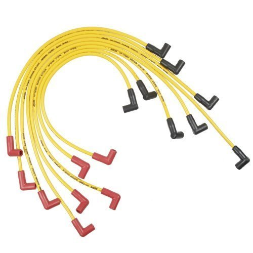 ACCEL 5048Y Custom Fit Super Stock Spiral Spark Plug Wire Set; Yellow; 8mm; Spiral Core; 500 ohms Per Foot Of Resistance; Stock Style HEI Boots w/Retention Nipple; by Accel