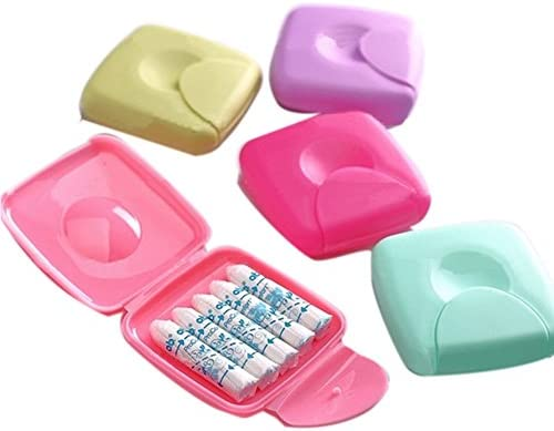 Portátil para mujer, servilletas sanitarias, tampones, caja almacenamiento, contenedor, estuche viaje: Amazon.es: Bricolaje y herramientas