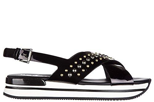 Hogan sandali donna in pelle originale h257 fasce incrociate nero
