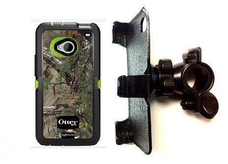 """SlipGrip 1"""" Bike Holder For HTC ONE M7 Phone Using Otterbox Defender Realtree Camo Case"""