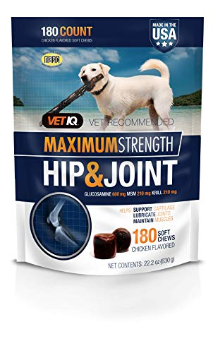 VetIQ Maximum Strength Hip And Joint Supplement For Dogs - Chicken Flavored Soft Chews, 22.2 Oz (180 count bag)