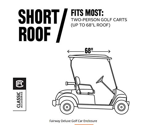 Classic Accessories Fairway Golf Cart Deluxe Enclosure, Black, Short Roof by Classic Accessories (Image #5)