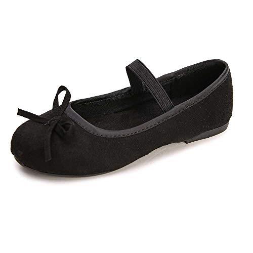 (WOBAOS Girls' Shoes Girl's Ballerina Flat Shoes Mary Jane Dress Shoes (Little/Toddler Girls Shoes/Big Kids) (10 M US Toddler, Black) )