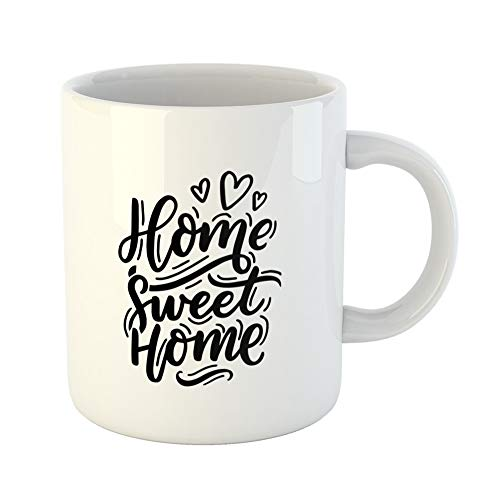 Emvency Coffee Tea Mug Gift 11 Ounces Funny Ceramic Beauty Lettering Home Sweet for Interior Modern Black Gifts For Family Friends Coworkers Boss Mug