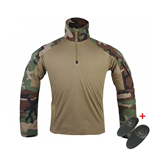 H World Shopping Emerson Military Mens BDU Gen3 G3 Combat Shirt w/Elbow Pads Woodland (M) ()