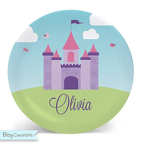 (Princess Castle Plate Melamine Bowl or Plate Custom Personalized with Childs Name)