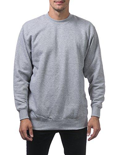 Pro Club Men's Heavyweight 13oz Crew Neck Fleece Pullover Sweatshirt, Small, Heather Gray