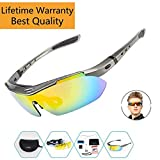 Sports Sunglasses For Men Women Cycling Glasses Polarized Baseball Running Fishing Driving Golf With 5 Interchangeable Lenses (Silver, 5 Lens)