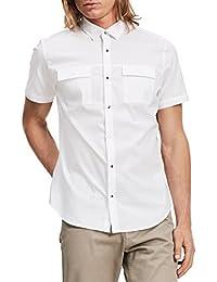 Men's Short Sleeve Stretch Poplin Military Button-Up Shirt