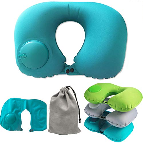 AMAZBOX Travel Neck Pillow Automatic Inflatable Foldable Mini Size Airplane Travel Neck Pillows Support Nap Air Cushion U-Shape Portable Comfortable Trip Pillow for Adult Kids