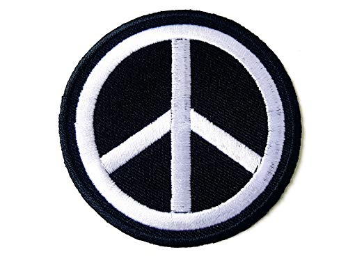 - Tyga_Thai Brand Peace Sign Symbol Hippie Retro Love Vintage Circle Jacket T-Shirt Sew on Iron on Embroidered Applique Badge Patch (Iron-Peace-Sign-BW)